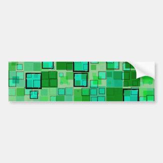 Retro Green with Black Square Abstract Bumper Sticker