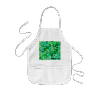 Retro Green with Black Square Abstract Kids' Apron