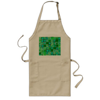 Retro Green with Black Square Abstract Long Apron