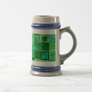 Retro Green with Black Square Abstract 18 Oz Beer Stein