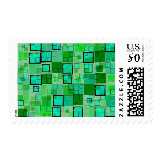 Retro Green with Black Square Abstract Postage