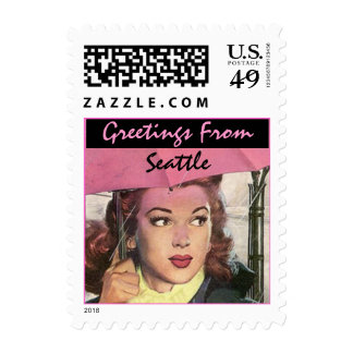 Retro Greetings From Seattle WA Travel Stamp