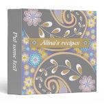 Retro grey, purple paisley colorful floral recipe binder