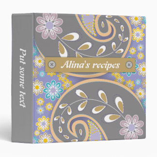 Retro grey, purple paisley colorful floral recipe binder