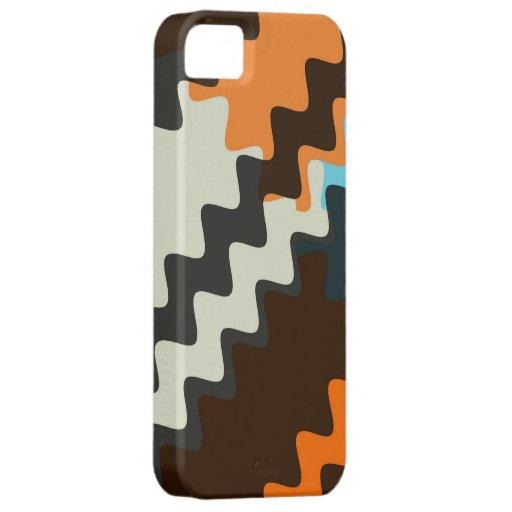 Retro Grey Seashell Brown Wavy Stripes Pattern iPhone SE/5/5s Case