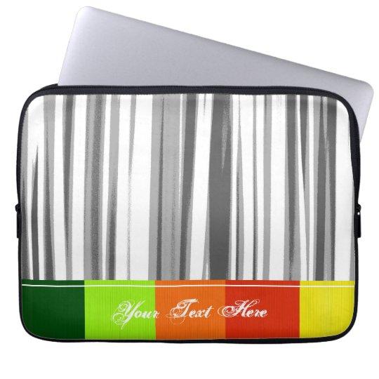 Retro Grey Stripes Pattern. Colorful Border Laptop Sleeve