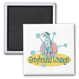 Retro Greyhound Lounge 2 Inch Square Magnet