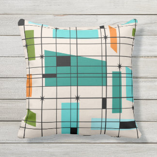 Retro Grid and Starbursts Outdoor Pillow