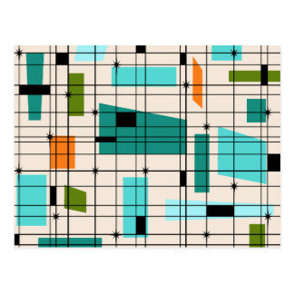 Retro Grid and Starbursts Post Card