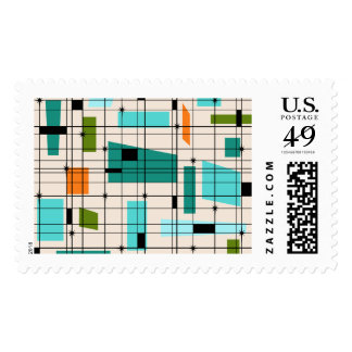 Retro Grid and Starbursts Postage Stamps