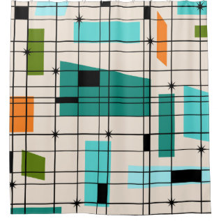 Retro Grid And Starbursts Shower Curtain at Zazzle