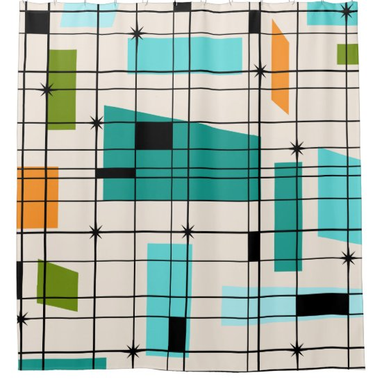 Retro Grid and Starbursts Shower Curtain
