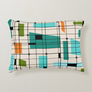 Retro Grid & Starbursts Accent Pillow