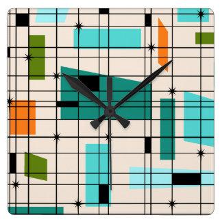 Retro Grid & Starbursts Acrylic Wall Clock