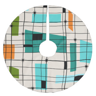 Retro Grid & Starbursts Christmas Tree Skirt