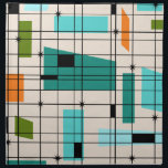 "Retro Grid &amp; Starbursts Cloth Napkins<br><div class=""desc"">These Retro Grid and Starbursts Cloth Napkins are where vintage style meets modern day. It features a cream colored background with kitschy, off kilter squares and rectangles in teal, turquoise, This light blue, orange, and avocado green. The whimsical blocks of color are overlayed are worked into some of the grid...</div>"