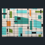 "Retro Grid &amp; Starbursts Cloth Placemat<br><div class=""desc"">This Retro Grid and Starbursts Cloth Placemat is where vintage style meets modern day. It features a cream colored background with kitschy, off kilter squares and rectangles in teal, turquoise, This light blue, orange, and avocado green. The whimsical blocks of color are overlayed are worked into some of the grid...</div>"