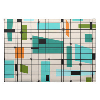 Retro Grid & Starbursts Cloth Placemat