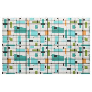 Retro Grid & Starbursts Fabric