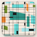 """Retro Grid &amp; Starbursts Hard Plastic Coasters<br><div class=""""desc"""">These Retro Grid and Starbursts Hard Plastic Coasters are where vintage style meets modern day. It features a cream colored background with kitschy, off kilter squares and rectangles in teal, turquoise, This light blue, orange, and avocado green. The whimsical blocks of color are overlayed are worked into some of the...</div>"""