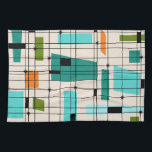 "Retro Grid & Starbursts Kitchen Towel<br><div class=""desc"">This Retro Grid and Starbursts Kitchen Towel is where vintage style meets modern day. It features a cream colored background with kitschy, off kilter squares and rectangles in teal, turquoise, This light blue, orange, and avocado green. The whimsical blocks of color are overlayed are worked into some of the grid...</div>"