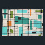 """Retro Grid & Starbursts Kitchen Towel<br><div class=""""desc"""">This Retro Grid and Starbursts Kitchen Towel is where vintage style meets modern day. It features a cream colored background with kitschy, off kilter squares and rectangles in teal, turquoise, This light blue, orange, and avocado green. The whimsical blocks of color are overlayed are worked into some of the grid...</div>"""