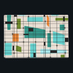 "Retro Grid &amp; Starbursts Laminated Placemat<br><div class=""desc"">This customizable Retro Grid and Starbursts Laminated Placemat is where vintage style meets modern day. It features a cream colored background with kitschy, off kilter squares and rectangles in teal, turquoise, This light blue, orange, and avocado green. The whimsical blocks of color are overlayed are worked into some of the...</div>"