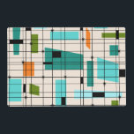 """Retro Grid &amp; Starbursts Laminated Placemat<br><div class=""""desc"""">This customizable Retro Grid and Starbursts Laminated Placemat is where vintage style meets modern day. It features a cream colored background with kitschy, off kilter squares and rectangles in teal, turquoise, This light blue, orange, and avocado green. The whimsical blocks of color are overlayed are worked into some of the...</div>"""