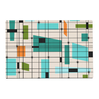 Retro Grid & Starbursts Laminated Placemat