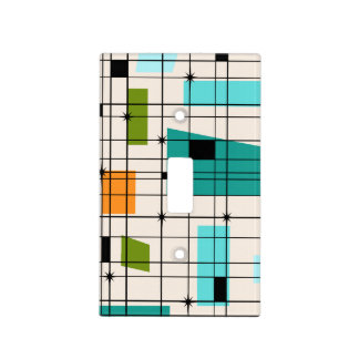 Retro Grid & Starbursts Light Switch Cover