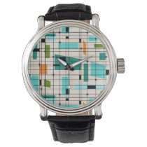Retro Grid & Starbursts Men's Watch