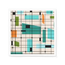 Retro Grid & Starbursts Paper Napkins