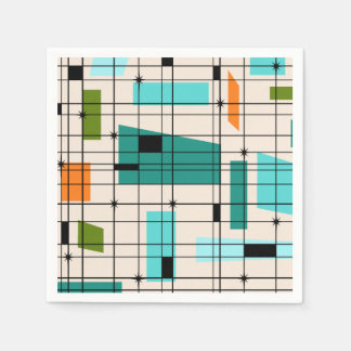 Retro Grid & Starbursts Paper Napkins