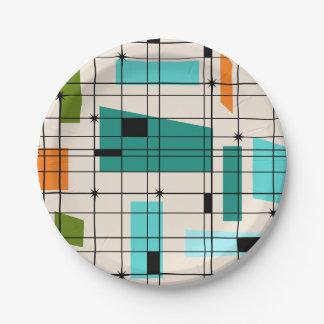 Retro Grid & Starbursts Paper Plate