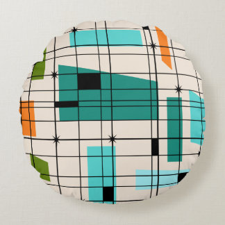 Retro Grid & Starbursts Round Pillow