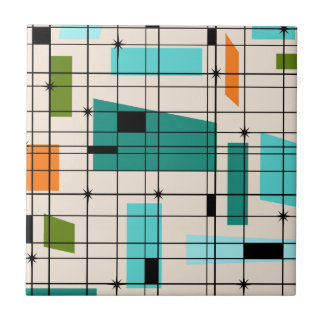 Retro Grid & Starbursts Tile