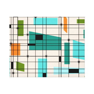 Retro Grid & Starbursts Wrapped Canvas