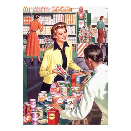 Retro Grocery Check-out Pantry Party Stock Kitchen Announcement