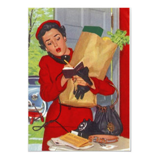 Retro Grocery Shopping Pantry Party Stock Kitchen Card