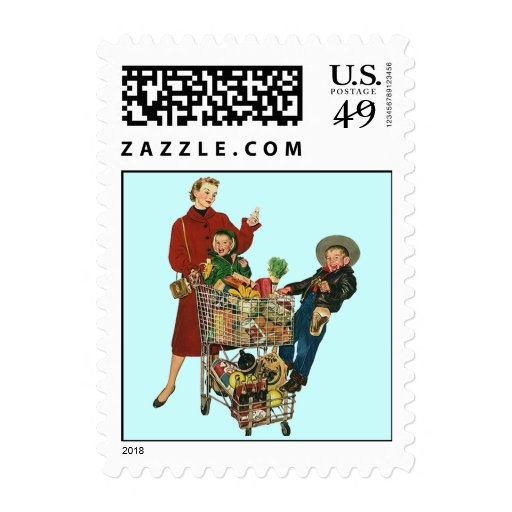 Retro Grocery Shopping technology Postage Stamps