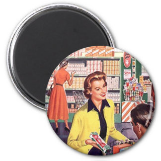 Retro Grocery Store shopping happy shopper Gifts 2 Inch Round Magnet