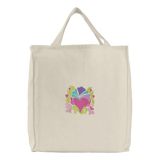 retro groove heart wave embroidered tote bag