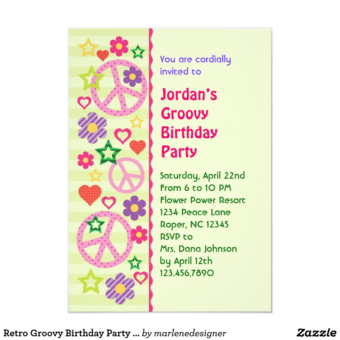 Retro Groovy Birthday Party Invitation