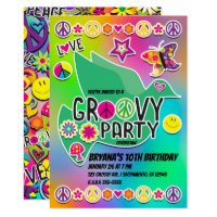 Retro Groovy FUN 60's Sixties Love Birthday Party Invitation