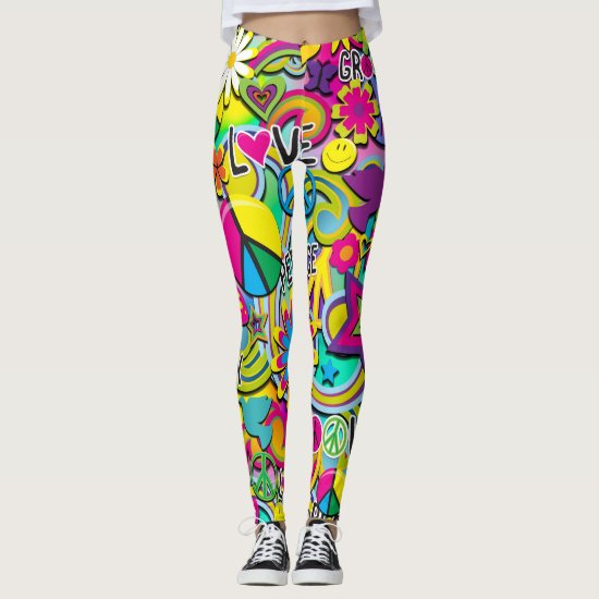 Retro Groovy FUN 60's Sixties Love Colorful Funky Leggings