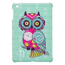 Retro Groovy Owl Teal iPad Mini Covers