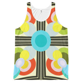 Retro Groovy Pastel Circles Pattern Tank Top All-Over Print Tank Top