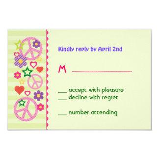 "Retro Groovy RSVP Card 3.5"" X 5"" Invitation Card"