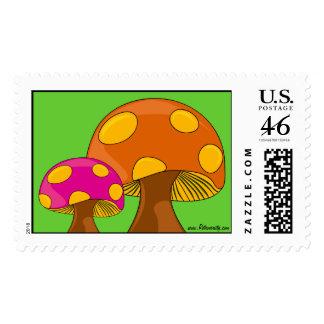Retro Groovy sixties mushroom stamps