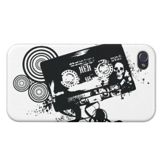 Retro Grunge Audio Tape & Skull Cover For iPhone 4